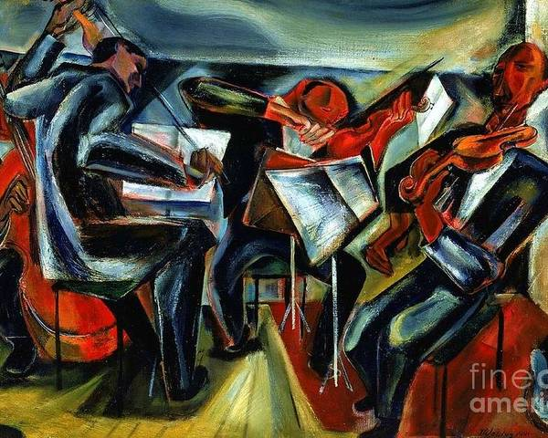 Pd Poster featuring the painting The Budapest String Quartet by Pg Reproductions