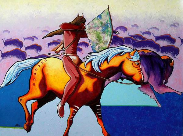 American Indian On Horseback Hunting Buffalo With Bow And Arrow Poster featuring the painting The Buffalo Hunter by Joe Triano