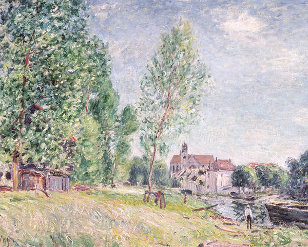 Impressionist; Landscape Poster featuring the painting The Builder's Yard At Matrat Moret-sur-loing by Alfred Sisley
