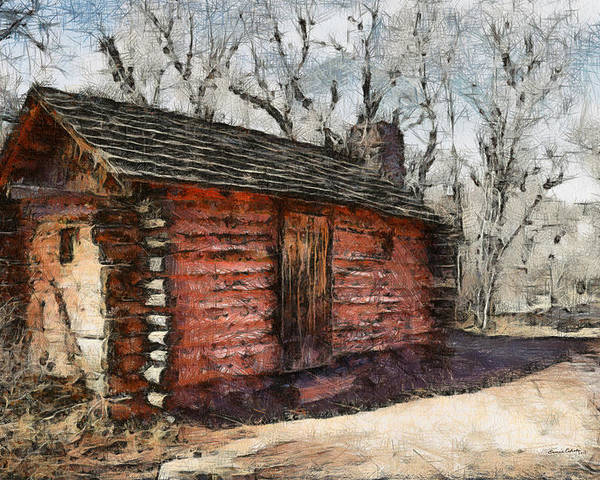 Cabin Poster featuring the digital art The Cabin by Ernie Echols