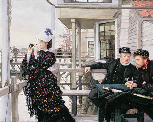 Binoculars Poster featuring the painting The Captains Daughter by James Jacques Joseph Tissot