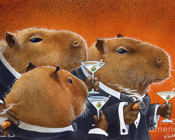 Will Bullas Poster featuring the painting The Capybara Club... by Will Bullas