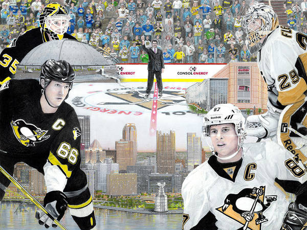 Pittsburgh Penguins Poster featuring the painting The Changing Of The Guard by Albert Puskaric