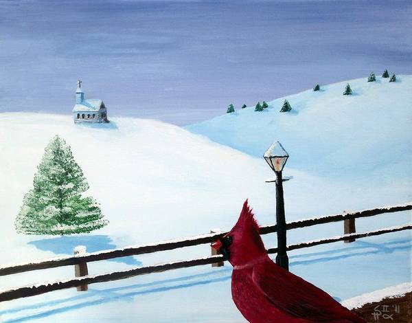 Cardinal Poster featuring the painting The Christmas Cardinal by Spencer Hudon II