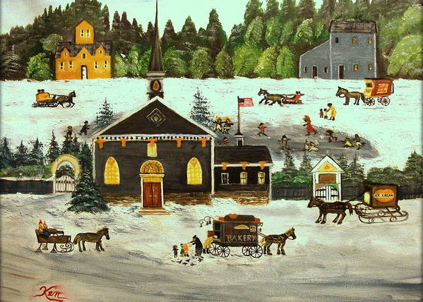 Folk Art Poster featuring the painting The Church by Kenneth LePoidevin