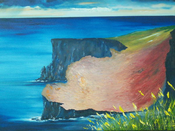 Ireland Poster featuring the painting The Cliffs Of Moher Ireland by Conor Murphy