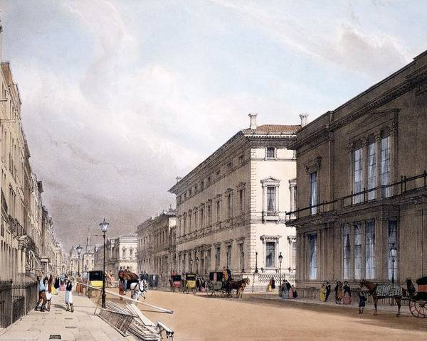 C19th Poster featuring the drawing The Club Houses, Pall Mall, 1842 by Thomas Shotter Boys