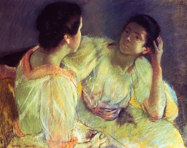 Belle Epoque; Female; Females; Friends; Listening; Friendship; Seated; Head In Hand; Impressionist; Advice; Care; Chatting; Confidante; Gossip; Discussion; Talking; Conversation Poster featuring the pastel The Conversation by Mary Stevenson Cassatt