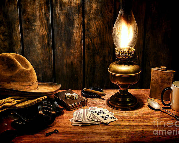 Cowboy Poster featuring the photograph The Cowboy Nightstand by Olivier Le Queinec