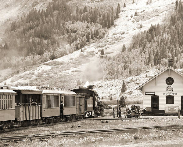 Transportation Poster featuring the photograph The D And S Pulls Into The Station by Mike McGlothlen