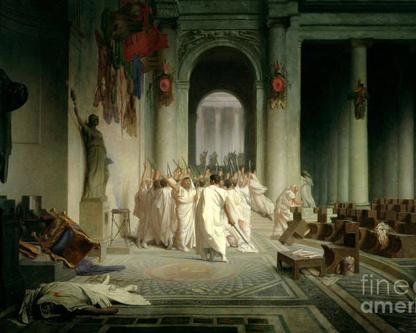 The Death Of Caesar Poster featuring the painting The Death Of Caesar by Jean Leon Gerome