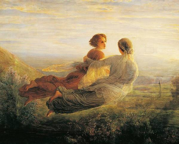 Painting; 19th Century Painting; Louis Janmot Poster featuring the painting The Departure Of The Soul by Louis Janmot