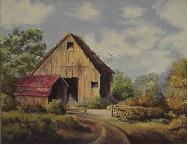Landscape Poster featuring the painting The Deserted Barn by Wanda Dansereau