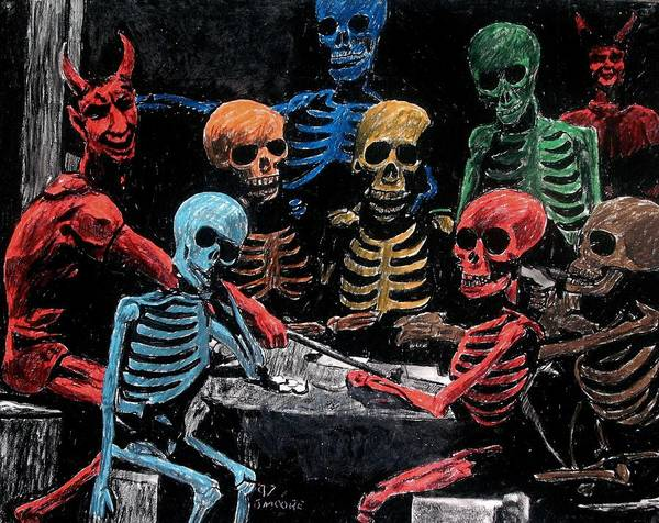 Satan Devil Lucifer Skull Skeleton Poker Card Game Hell Poster featuring the pastel The Devil And Friends by Jeremy Moore