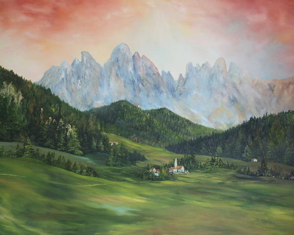 Dolomite Poster featuring the painting The Dolomites Italy by Jean Walker