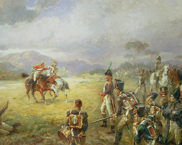 The Duel Poster featuring the painting The Duel Fair Play by Robert Alexander Hillingford