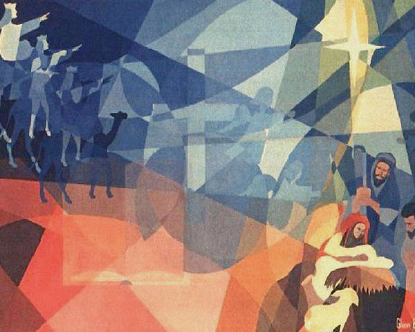 Nativity Scene Poster featuring the painting The Event 1965 by Glenn Bautista