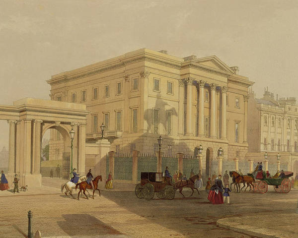 Hyde Park Corner Poster featuring the painting The Exterior Of Apsley House, 1853 by English School