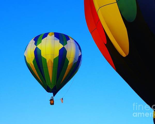 Balloons Poster featuring the photograph The First One Up by Jeff Swan