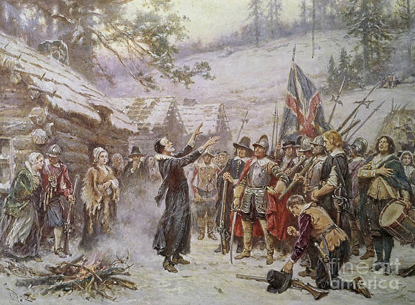 Blessing; Settlers; Colonists; Colonial; Mayflower; Puritan; Puritans; Soldiers; Congregation; Winter; Fire; America; Us; Usa; United States Of America Poster featuring the painting The First Sermon Ashore by Jean Leon Gerome Ferris