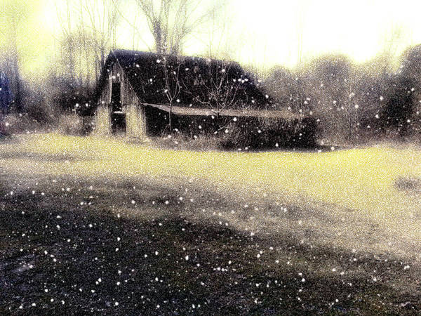 Old Barn Before It Was Torn Down In Royal Arkansas Shop Poster featuring the photograph The First Snow Fall On The Old Barn by Lisa Griffin