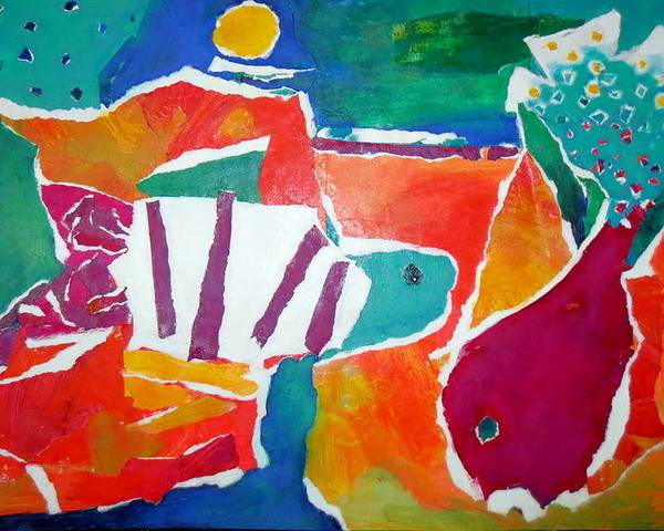 Two Fish Poster featuring the mixed media The Fish In The Sea by Diane Fine