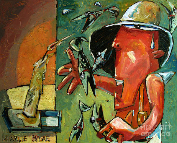 Fish Poster featuring the painting The Fish Juggler In The White Hat In Candlelight by Charlie Spear