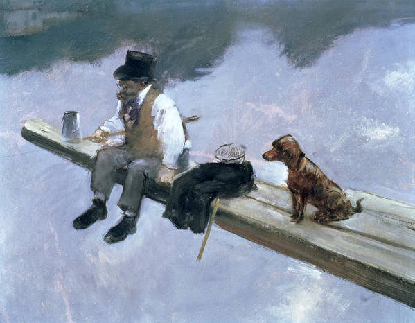 Forain Poster featuring the painting The Fisherman, Detail Of A Man Fishing by Jean Louis Forain
