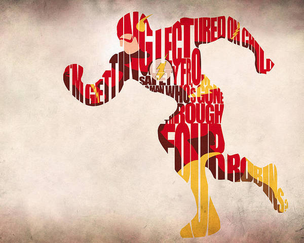 Flash Poster featuring the drawing The Flash by Ayse Deniz