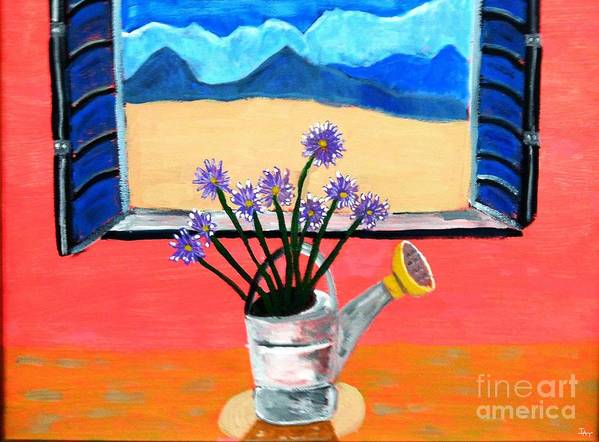 Flower Poster featuring the painting The Flower Pot by Israel A Torres