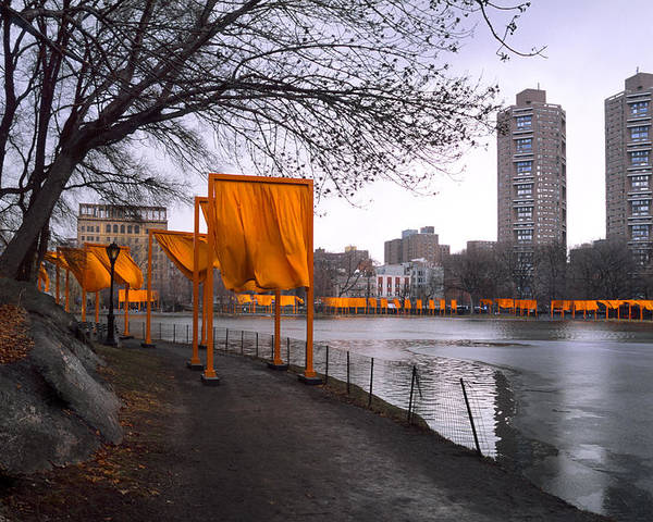 Central Park Poster featuring the photograph The Gates - Central Park New York - Harlem Meer by Gary Heller