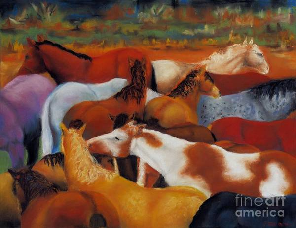 Herd Of Horses Poster featuring the painting The Gathering by Frances Marino