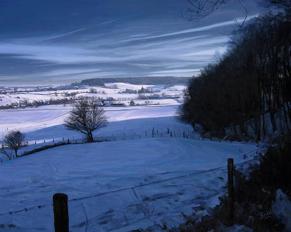 Geul Epen Zuid Limburg Netherlands Bovenste Bos Sippenaeken Chateau Beusdael Briex Landscape Snow Winter Poster featuring the painting The Geul Valley Near Epen by Nop Briex