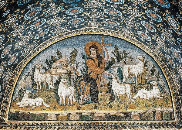 Horizontal Poster featuring the photograph The Good Shepherd. 5th C. Italy by Everett
