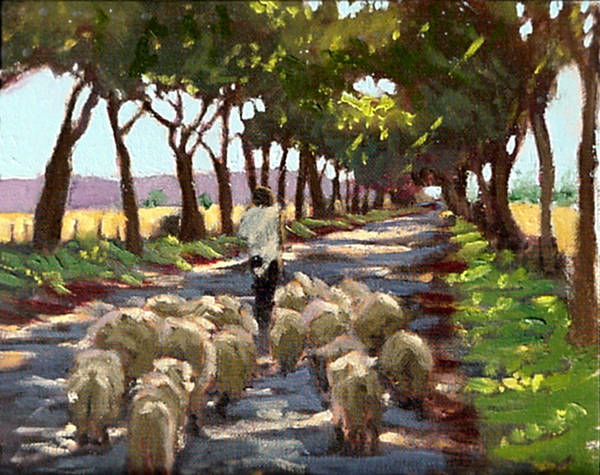 Shepherd And Flock Painting Poster featuring the painting The Good Shepherd by David Zimmerman