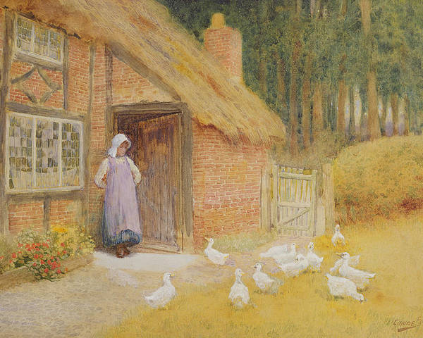 Arthur Claude Strachan Poster featuring the painting The Goose Girl by Arthur Claude Strachan