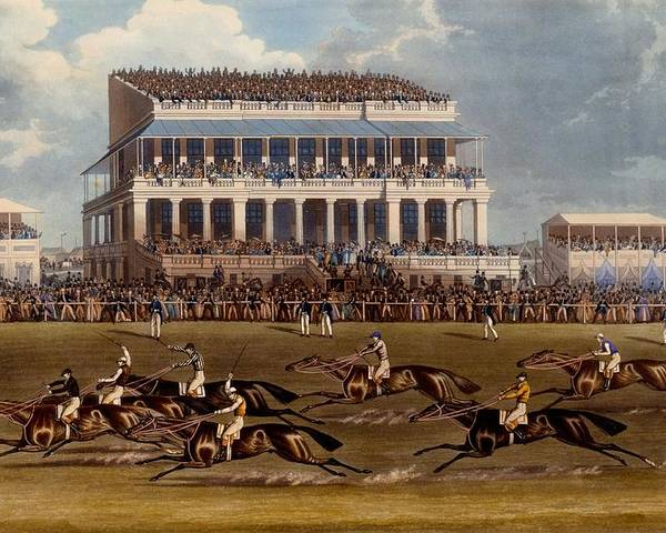 Grand Stand Poster featuring the painting The Grand Stand At Epsom Races, Print by James Pollard