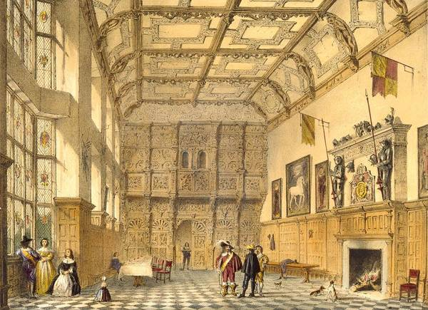 Domestic Interior Poster featuring the drawing The Great Hall, Hatfield, Berkshire by Joseph Nash