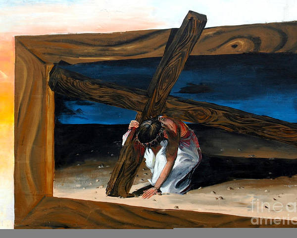 Painted Mural Poster featuring the painting The Heaviest Cross To Bear by Linda Rae Cuthbertson