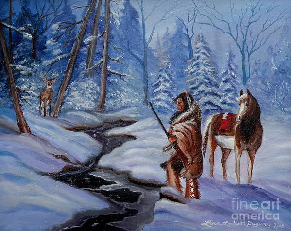 Winter Landscape Poster featuring the painting The Hunt by Lora Duguay