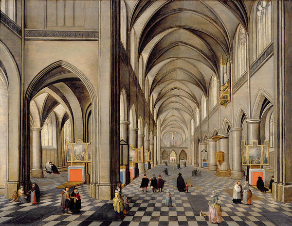 Religious Poster featuring the painting The Interior Of A Gothic Church by Hendrik the Younger Steenwyck
