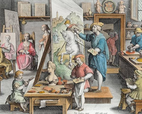 Van Eyck Poster featuring the drawing The Invention Of Oil Paint, Plate 15 by Jan van der Straet
