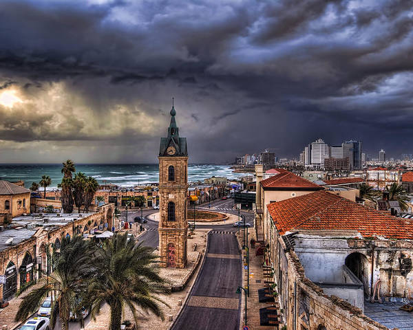 Clock Tower Poster featuring the photograph the Jaffa old clock tower by Ronsho