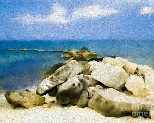 Grand Cayman Poster featuring the digital art The Jetty At Seven Mile Beach In Grand Cayman by Kenneth Montgomery