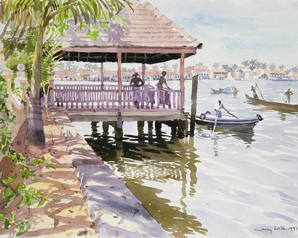 Canoe; Vietnam Poster featuring the painting The Jetty Cochin by Lucy Willis