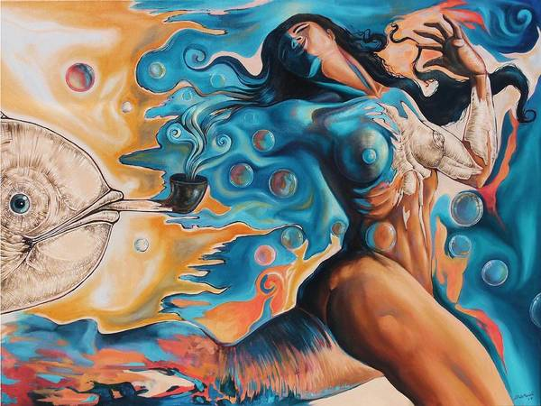 Surrealism Poster featuring the painting On the Edge of Dreams by Darwin Leon