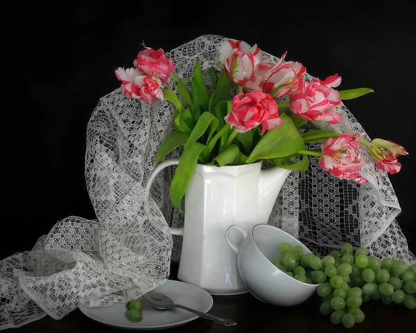 Still Life Poster featuring the photograph The Lace Veil by Diana Angstadt