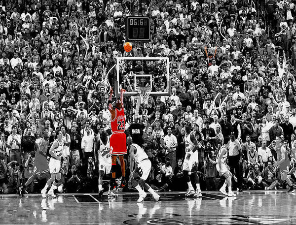 Michael Jordan Poster featuring the photograph The Last Shot 1 by Brian Reaves