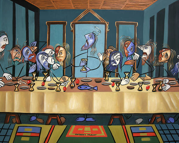 The Last Supper Poster featuring the painting The Last Supper by Anthony Falbo