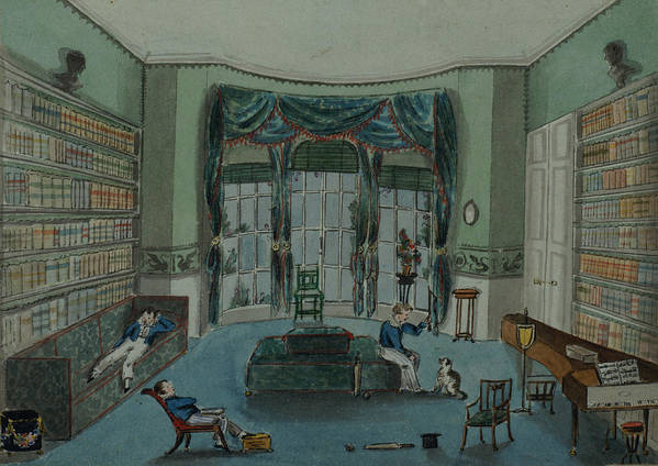 Book Shelf Poster featuring the painting The Library, C.1820, Battersea Rise by English School